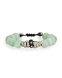 Green Moonstone & Diamond Beaded Bracelet