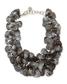 Gray Mother-of-Pearl Cluster Necklace