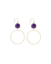 Small Sol Amethyst Dangle Hoop Earrings