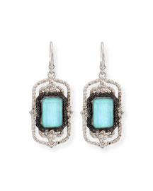 Turquoise Rectangle Scroll Diamond Earrings