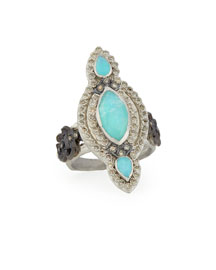 Elongated Blue Turquoise Scroll Ring