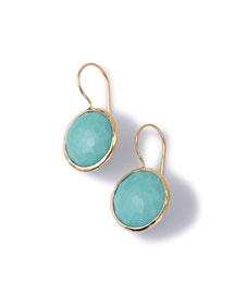 18k Gold Lollipop Drop Earrings, Turquoise
