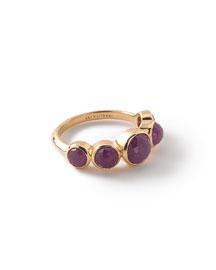 18k Lollipop 5-Stone Bezel Ring, Ruby