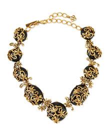 Resin Filigree Collar Necklace, Black
