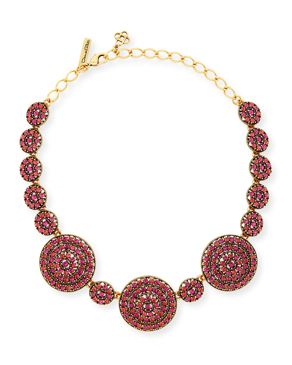 Oscar de la Renta Crystal Disc Statement Necklace, Pink
