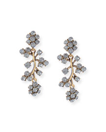 Crystal Branch Drop Clip Earrings