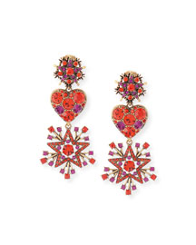 Crystal Stars & Heart Drop Earrings, Red