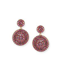 Crystal Disc Clip Drop Earrings, Pink