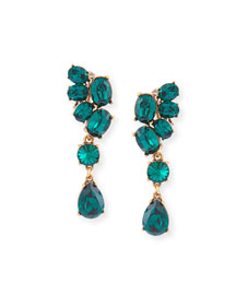 Asymmetric Crystal Clip Earrings, Green