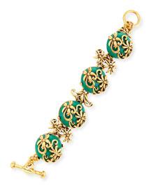 Resin Filigree Bracelet, Green