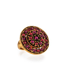 Crystal Disc Ring, Pink