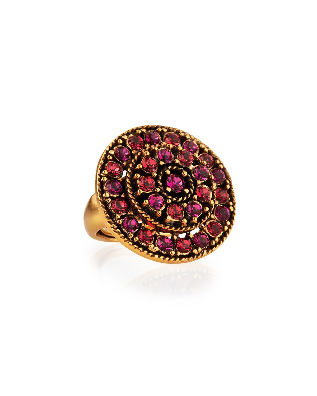Oscar de la Renta Crystal Disc Ring, Pink, Size: ADJUSTABLE 5-8