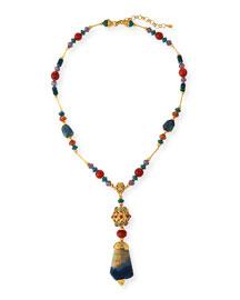 Long Multi-Stone Pendant Necklace, Blue