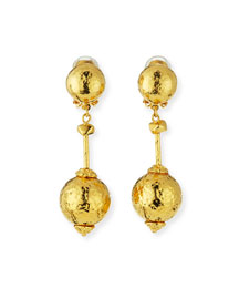 Hammered Ball-Drop Clip-On Earrings
