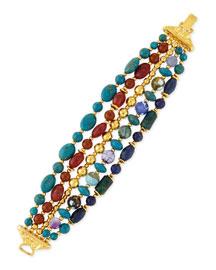 Five-Strand Mixed-Bead Bracelet, Blue