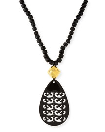 Black Tiger's Eye Necklace with Horn Pendant