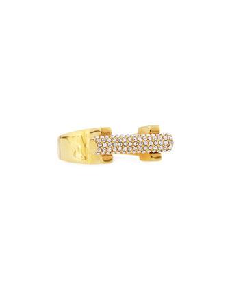 14k Gold-Plated Crystal Bar Ring