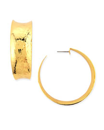 Hammered Gold-Plated Hoop Earrings