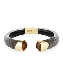 Crocodile Textured Hinge Bracelet