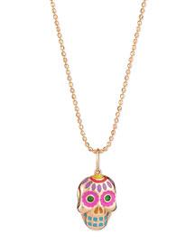 14k Rose Gold Skull Pendant Necklace
