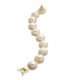Pave Crystal Pearl Cabochon Bracelet
