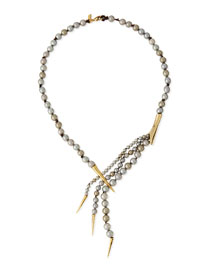 Draping Bead Spear-Capped Necklace, Gray