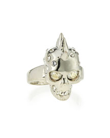 Spiked Crystal Skull Ring