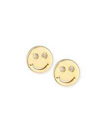 Happy Face Diamond Stud Earrings
