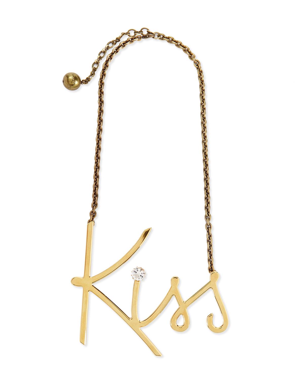 Lanvin Golden Kiss Pendant Necklace, GOLD