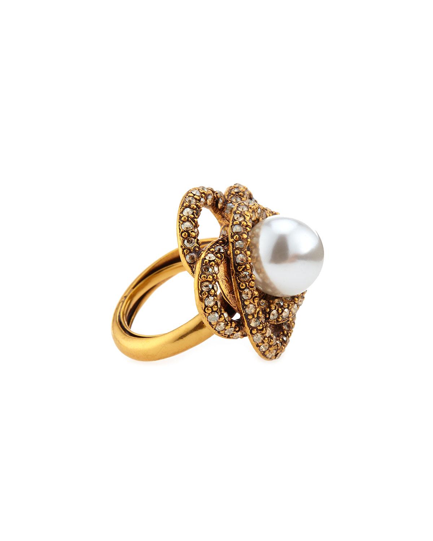 Oscar de la Renta Crystal Flower Wire Ring, Size 7, GOLD