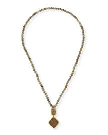 Labradorite & Druzy Pendant Necklace