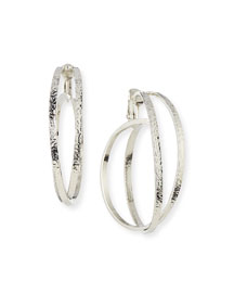 Crisscross Clip-On Hoop Earrings, Silver Plate