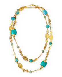 Long 24k Gold Plate & Turquoise Necklace