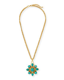 24k Gold Plated Turquoise Pendant Necklace