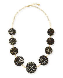 Spotted Horn Disc Necklace, Dark Brown