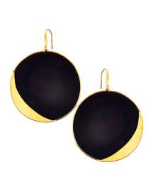 14k Jet Black Disc Earrings