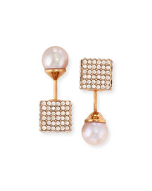Pearl & Pave Double Cubo Earrings