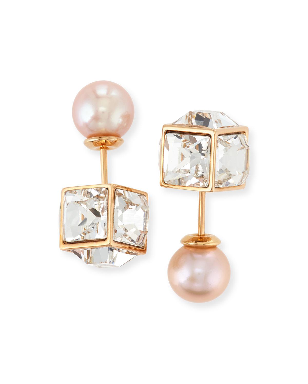 Vita Fede Double Cubo Gemma Pearl Earrings, ROSE GOLD/PEARL