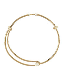 Gold-Plated Pearly Collar Necklace