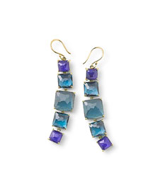18k Rock Candy 5-Stone Earrings, Blue