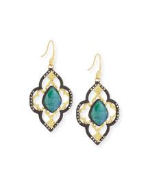 Old World Malachite/Rainbow Moonstone Scroll Earrings