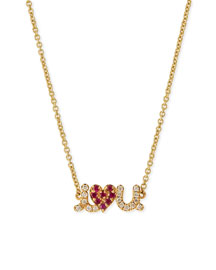 14k Small I Love You Diamond & Ruby Necklace