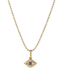 14k Gold Tiny Evil Eye Diamond Charm