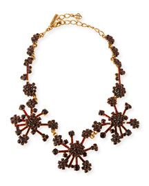 Crystal Flower Necklace, Bordeaux