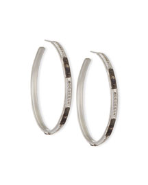New World Square-Motif Diamond Hoop Earrings