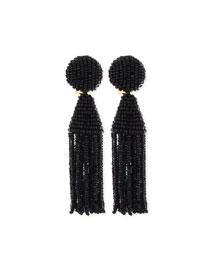 Beaded Short Tassel Clip Earrings