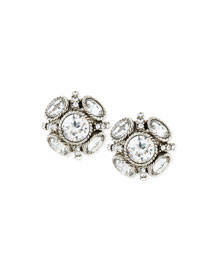 Classic Crystal Button Earrings
