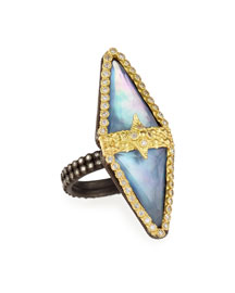Old World Double-Triangle Triplet Diamond Ring