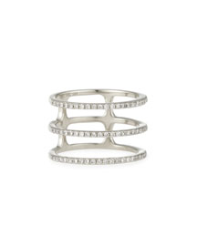 Diamond Triple Spiral Ring