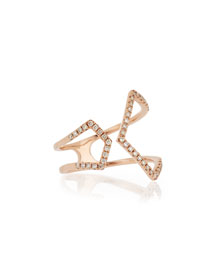 Split Chevron Diamond Rose Gold Ring